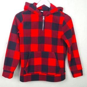 OLD NAVY Kids Fleece Pullover Red Buffalo Plaid